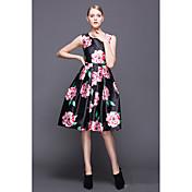 ヨーロッパの駅2016新しい女性'ファッション大きな花プリントノースリーブウエストドレス