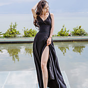 女性用 Aライン ドレス - モダンスタイル, 純色 マキシ ハイウエスト ディープVネック