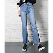 女性のパンストレトロなフラッシュスリムサインスペルカラーハイウエストのジーンズは薄いストレートジーンズ色を襲いました