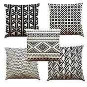 """conjunto de 5 patrones de geometría triangular impreso decoración creativa para fundas de almohada de coche de sofá (18 """"* 18"""")"""