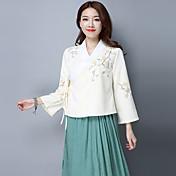 2017年春モデルのレトロな国家風の刺繍のレース文学中国の衣類のクロスの襟長袖シャツ