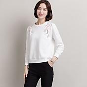 Tiro real femenina de manga larga 2017 nuevas mujeres de otoño coreano algodón bordado suelto, camiseta blanca casual
