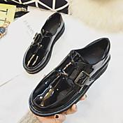 Mujer-Tacón Plano-Confort-Zapatos de taco bajo y Slip-Ons-Informal-Cuero de Cerdo-Negro