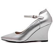 Mujer-Tacón Plano-Confort-Zapatos de taco bajo y Slip-Ons-Informal-PU-Dorado Plata Rojo