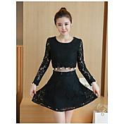 符号2017春新透かし編みはスリムレースのドレス+のフェイクツーピース韓国語バージョンをビーズ