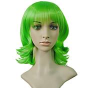 Mujer Pelucas sintéticas Corto Rizado Verde Corte Bob Peluca de cosplay Pelucas para Disfraz