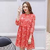 firmar la primavera nueva versión coreana del vestido de gasa de la manga yardas gran arte falda retro