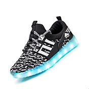 Chico Zapatillas de deporte Confort Zapatos con luz Zapato luminosa Tejido Verano Otoño Deportivo Fitness Con Cordón Tacón PlanoNegro