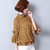 印刷されたシフォンシャツは本当の韓国人女性の新しい春と夏の2017人の女性を撃ちました' sの野生のは、襟のシャツをフラウンス付き