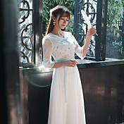 Firmar la primavera de 2017 mujeres&# 39; s damas delgadas retro bordado hadas falda cintura encaje vestido de las mujeres