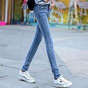 薄い光色のジーンズ女性の足9点スリム鉛筆のズボンスキニーパンツの秋の韓国語バージョン