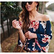 レディース お出かけ カジュアル/普段着 夏 Tシャツ,セクシー ボートネック フラワー リネン 七部袖
