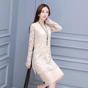 Mujer Línea A Vestido Ropa Cotidiana Clásico,Color sólido Escote Redondo Hasta la Rodilla Manga Larga N/A Verano Alta cintura Rígido Medio