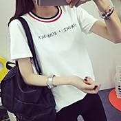 春先に#6007本物のショット2017小さな新鮮な夏の新しい韓国の女性学生の半袖Tシャツソリッドカラーの手紙