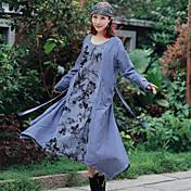 女性&綿のドレスの女性を縫う帯域幅の緩い腰のタイ染料印刷の#39; s 2017春の国の風の部門