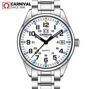 Carnival Hombre Reloj de Moda Reloj de Pulsera Cuarzo Acero Inoxidable Banda Cool Blanco Blanco