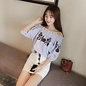 パフワワシャン甘い夏の花刺繍襟ルーズ半袖Tシャツのヘッジ