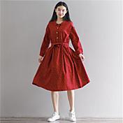 新しい2017年春と秋/文学緩いスカート秋のプリントラウンドネックのドレス本物のショット