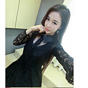 Mujer Encaje Vestido Noche Casual/Diario Sofisticado,Un Color Escote Chino Sobre la rodilla Manga Larga Seda Rayón Verano Tiro Medio