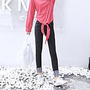 新しいワイルドウエストゴムスリムジーンズ女性の足の鉛筆のズボンの袖口の韓国語バージョンに署名
