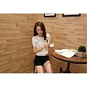 本物の新しい夏の韓国人女性の短い段落シフォンシャツ女性の半袖シャツ小さなシャツのレースのシャツ