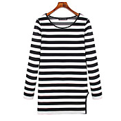 ヨーロッパの駅の新しい大きいサイズの女性' sのストライプ長袖Tシャツスリムコットンシャツシャツ韓国語バージョン