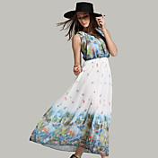サイン夏の新しいヨーロッパの脚プリーツラウンドネックのプリントシフォンドレス大きな花柄のドレスXIみや