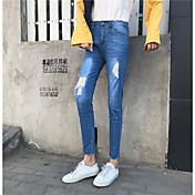 新しいスリム韓国のファッション野生た細い腰擦り切れジーンズの足の正味の署名