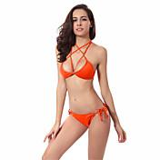De las mujeres Bikini-Color Único BandageHalter-Nailon Espándex