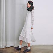 モデル本物のショット小さな新鮮なレーススカート2017春新長袖の白いレースのドレス