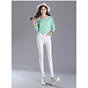Mujer Estilo clásico Medio Sólido N/A Un Color Legging,Blanco Negro