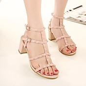 MujerSuelas con luz-Zapatos de taco bajo y Slip-Ons-Informal-PU-Blanco Negro Rosa