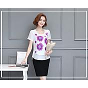 レディース ビーチ Tシャツ,アジアン・エスニック ラウンドネック ソリッド コットン 半袖
