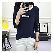 レディース カジュアル/普段着 Tシャツ,シンプル ラウンドネック プリント コットン 長袖