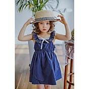 Vestido Chica de Color sólido Enrejado Algodón Sin Mangas Verano Volantes Azul Piscina