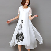 Mujer Tallas Grandes Noche Vintage / Sofisticado Corte Swing Vestido - Estampado, Floral Tiro Alto Midi Blanco