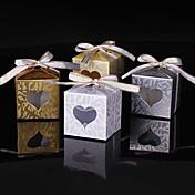 Cúbico Papel de tarjeta Soporte para regalo  con Purpurina Corbata de Lazo Cajas de regalos