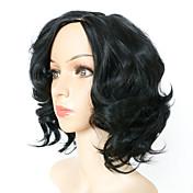 女性 人工毛ウィッグ キャップレス ショート丈 カーリー ブラック ナチュラルウィッグ コスチュームウィッグ