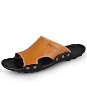 男性用 靴 レザー コンフォートシューズ スリッパ&フリップ・フロップ のために カジュアル ホワイト ブラック イエロー Brown ブルー