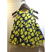 Vestido Chica de Enrejado Algodón Manga Corta Verano Floral Amarillo