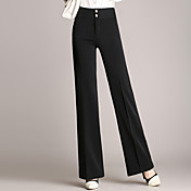 Mujer Casual Tiro Medio Rígido Delgado Chinos Pantalones,Un Color Primavera, Otoño, Invierno, Verano