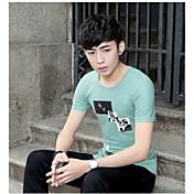メンズ カジュアル/普段着 Tシャツ,シンプル ラウンドネック プリント コットン 半袖