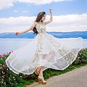 女性用 ビーチ スウィング マキシ ドレス, フラワー 半袖 ラウンドネック