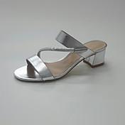 Mujer Zapatos Purpurina PU Verano Otoño Anillo Frontal Zapatos del club Sandalias Tacón Bajo Tacón Cuadrado Dedo redondo Pedrería Hebilla