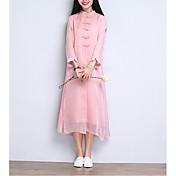 Mujer Moderno Recto Vestido - Estilo moderno, Un Color Midi