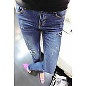 Mujer Moderno Tiro Bajo Microelástico Ajustado Vaqueros Pantalones, Un Color Primavera Verano