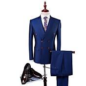 ブルー 純色 スリムフィット ポリエステル ビスコース スーツ - ピークドラペル シングルブレスト 四つボタン
