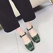 MujerSuelas con luz-Zapatos de taco bajo y Slip-Ons-Informal-PU-Negro Marrón Verde