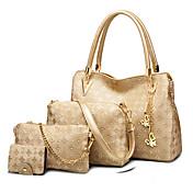 女性用 バッグ PU バッグセット 4個の財布セット ファー ゴールド / ホワイト / ブラック