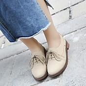 MujerSuelas con luz-Zapatos de taco bajo y Slip-Ons-Informal-PU-Amarillo Almendra